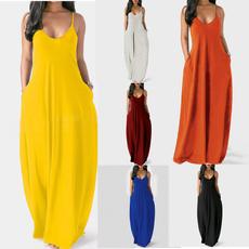 Sleeveless dress, long skirt, Pocket, Summer