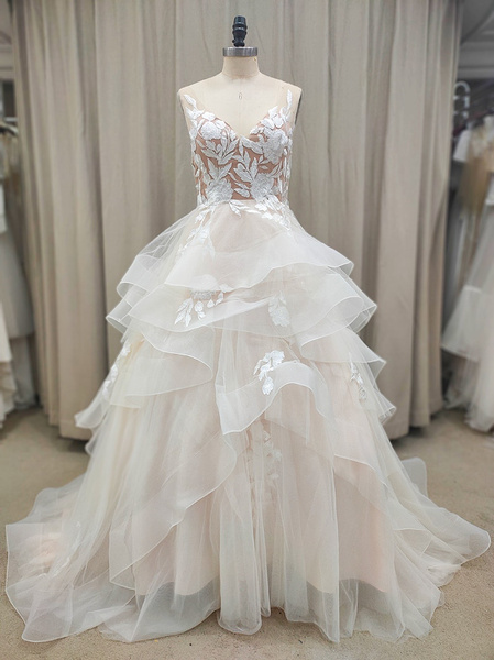 gowns, Lace, A-line, tiered