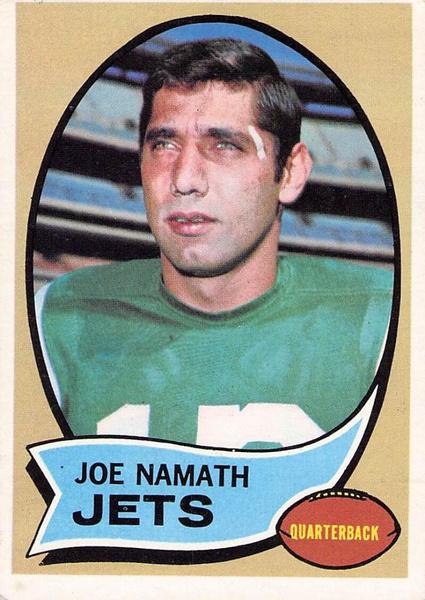 New York, joenamath, New York Jets, 1970footballcard