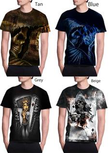 Mens T Shirt, Poker, Fashion, skull
