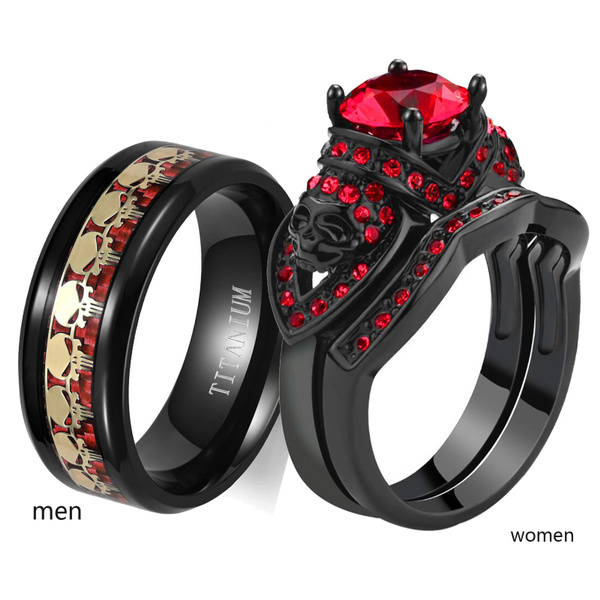 Steel, coupleringsforhimandherset, wedding ring, skull