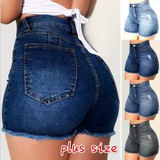 denim shorts women, Summer, Plus Size, high waist