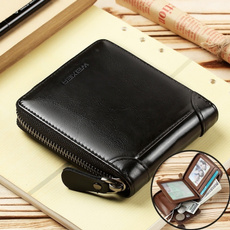 leather wallet, shortwallet, Men, rfidwallet