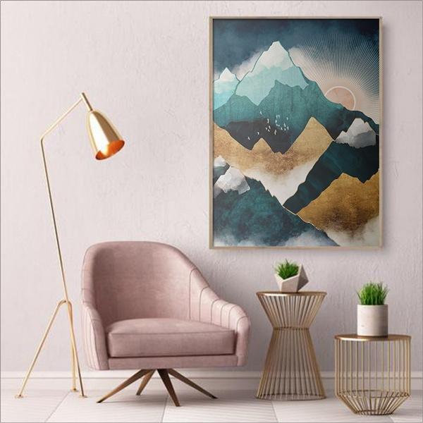 Mountain, home deco, art, sunriseartpainting