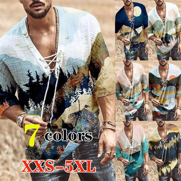 Summer, crossshirtsformen, print shirt, vnecksshirt