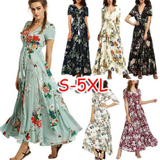 Summer, Plus Size, Print Dresses, long dress