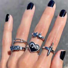 Heavy, Goth, Joyería, ringset