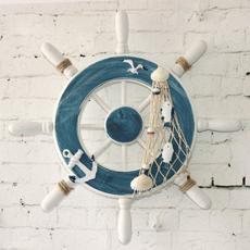 Decor, Wall Art, boatsteeringwheel, mediterraneanstylewoodenboat