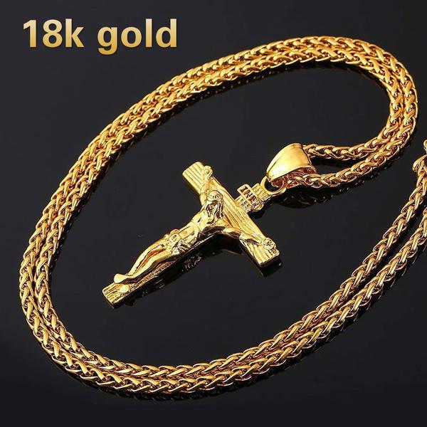 jesus, Cross necklace, 18kalloy, 18 k