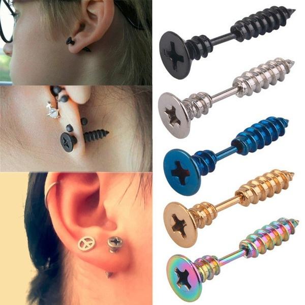 Steel, screw, Fashion, Men Earrings