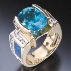 DIAMOND, wedding ring, gold, blueopalring