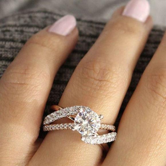 Sterling, DIAMOND, white, wedding ring