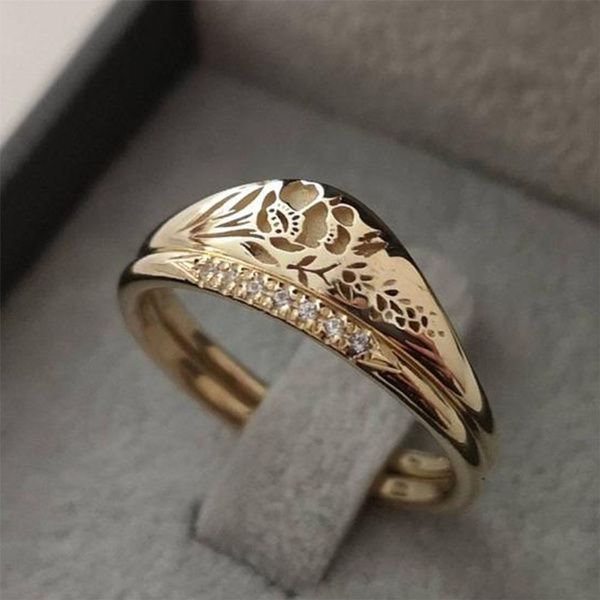 Engagement Wedding Ring Set, gold, Simple, 18k gold ring