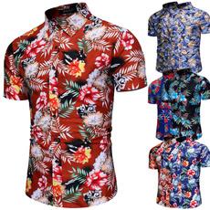 Turn-down Collar, Summer, Fashion, beachshirt