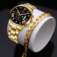 Chronograph, quartz, gold bracelet, business watch