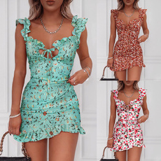 Summer, flowerprinted, slim dress, fashion dress