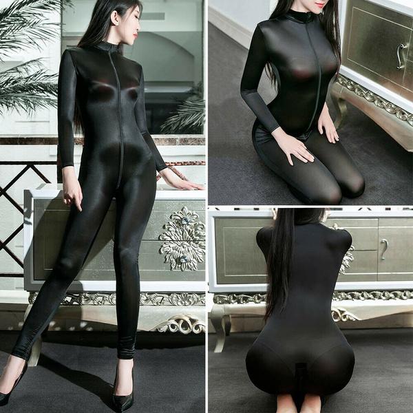 frontzipperjumpsuit, catsuitclubwear, Elastic, womenbodysuit