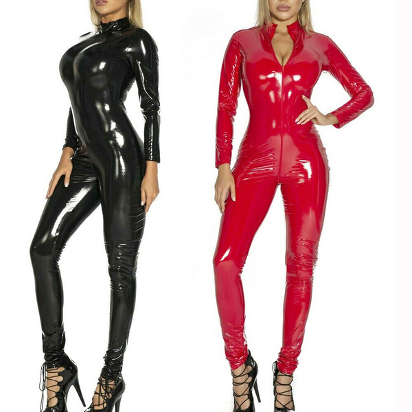 bodycon jumpsuits, latex, frontzipperjumpsuit, Cosplay