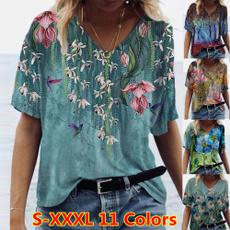 Summer, Plants, Plus Size, Cotton T Shirt