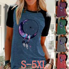 Summer, Plus Size, Women Blouse, Graphic Shirt