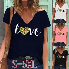 Summer, Plus Size, Love, Women Blouse