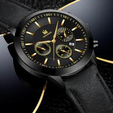 Chronograph, quartz, business watch, leather strap