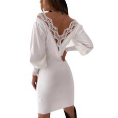 sleeve v-neck, Fashion, Lantern, Lace