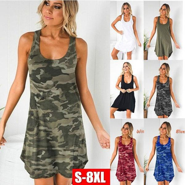 Plus Size, ladies vest, Camouflage dresses, Ladies