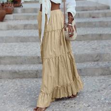 Summer, long skirt, elastic waist, ruffle