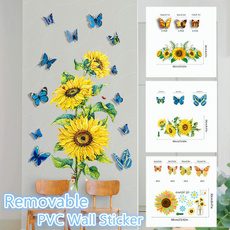butterfly, PVC wall stickers, Decor, Sunflowers