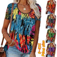 gradientcolor, shortsleeveshirtsforwomen, womenblousesshirt, womensshortsleeve
