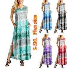 Summer, sleeveless, dressesforwomen, Print Dresses