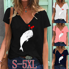 Summer, Plus Size, Deep V-Neck, Graphic Shirt