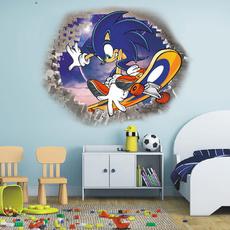 PVC wall stickers, sonic, boybedroom3dwallsticker, 3dbrokenwallmural