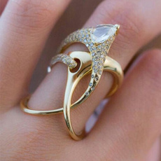 DIAMOND, 925 sterling silver, Women Ring, gold