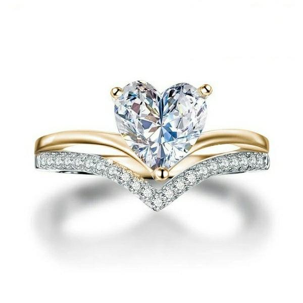 Sterling, Heart, DIAMOND, Engagement Ring