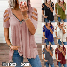 Deep V-Neck, Summer, Plus Size, Shirt