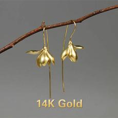 Sterling, gold, wedding earrings, hookearring