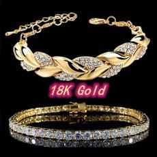Charm Bracelet, DIAMOND, leaf, Jewelry