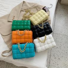 women's shoulder bags, weavebag, Fashion, Chain