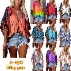 womens top, summer t-shirts, short sleeves, V-neck
