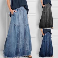 Plus Size, long skirt, elastic waist, Ladies Fashion