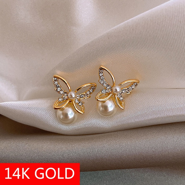 butterfly, Fashion, Stud, gold