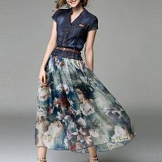 Fashion, chiffon, Dress, beltdresse