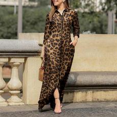 Plus Size, Long Sleeve, Leopard, Dress