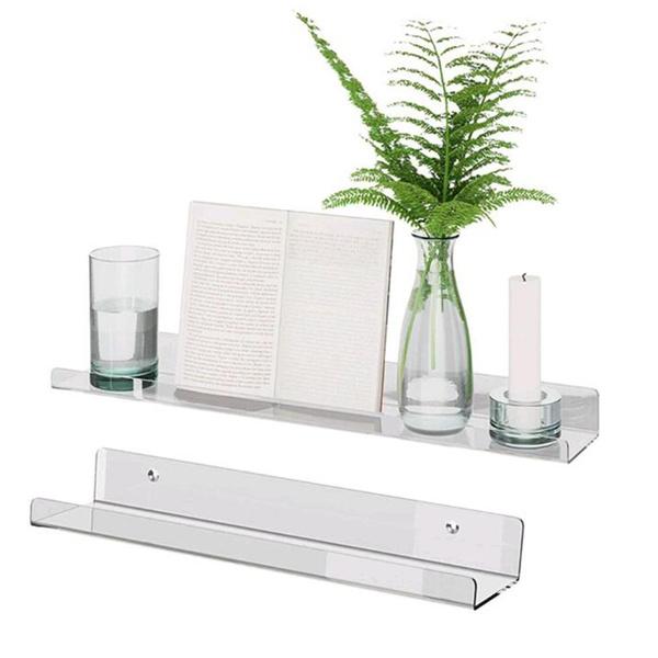 setof2acrylicclearfloatingwallshelf, wallmounteddisplayfloatingshelve, Beauty, Shelf