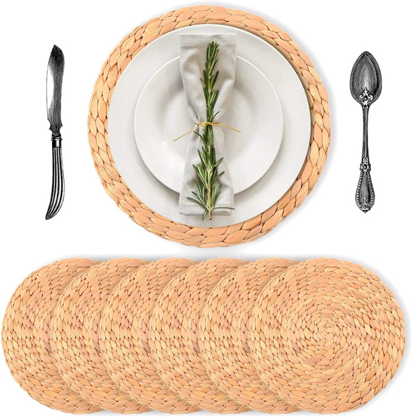 6pack Luxury Water Hyacinth Placemats, Placemat For Round Table