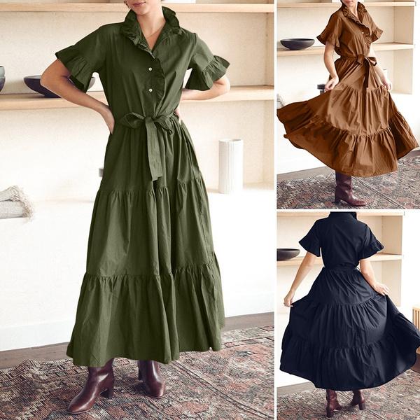 Fashion, ruffle, long dress, plus size dress