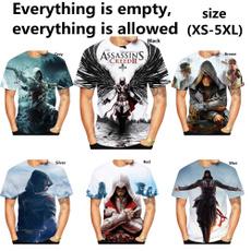 Shorts, casualclothing, summer t-shirts, 3dtshirtassassinscreed