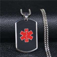 Steel, Chain Necklace, alertidpendant, Jewelry